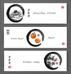 Three banners with mountains date plum fruits and vector