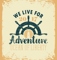 Travel banner with ships helm and lighthouse vector
