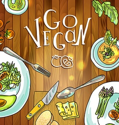 vegetarian food on board vector image vector image