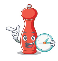 With clock pepper mill character cartoon vector