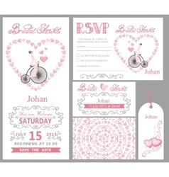 Wedding invitationbride onretro bikepink decor vector