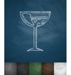 Wineglass icon hand drawn vector