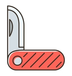 Red pocket knife icon flat style vector