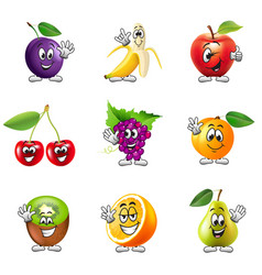 Funny cartoon fruits icons set vector