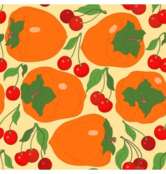 Seamless pattern with persimmon and cherries vector