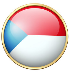 Czech republic flag on round badge vector