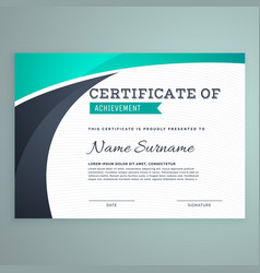 Stylish blue certificate design template vector