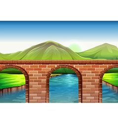 A bridge across the mountains vector