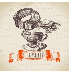 Sketch healthy and medical background vector image