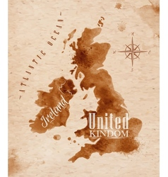 Map united kingdom and scotland retro vector