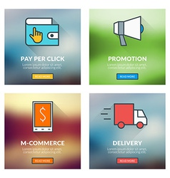 Set of flat design concepts pay per click vector