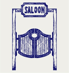 Old western swinging saloon doors vector
