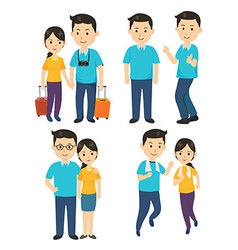 Man and Women Character vector image