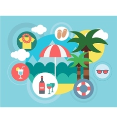 Travel on the island  umbrella vector
