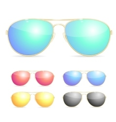 Aviator colorful sunglasses set vector