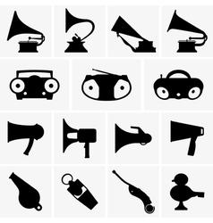 Gramophones megaphones whistles boomboxes vector image