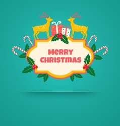 Christmas banner with deers vector