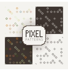 Set of seamless patterns of pixel elements vector