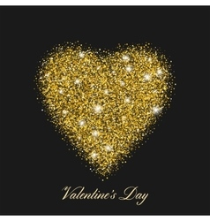 Heart shaped brilliant golden shine with shining vector