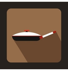 Black frying pan with white lid icon flat style vector