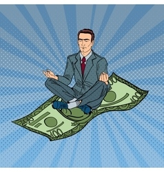 Businessman meditating on the hundred dollar bill vector