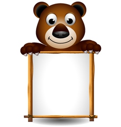 cute brown bear with board vector image