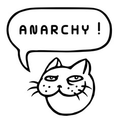 Anarchy cartoon cat head speech bubble vector