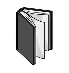 Black standing book icon in monochrome style vector
