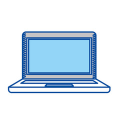blue contour of laptop computer vector image vector image