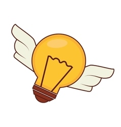 Bulb with wings light idea creative design vector