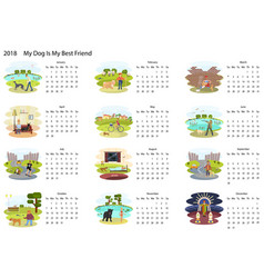 calendar 2018 with dog vector image vector image