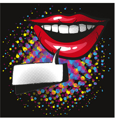 Comic lips smile speech bubble pop art on dot vector