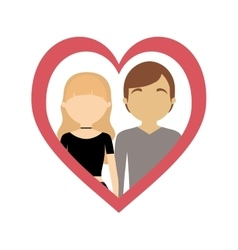 Couple love frame heart fashion style vector
