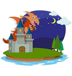 Dragon and castle at night vector image vector image