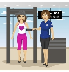 Female security guard scanning woman passenger vector