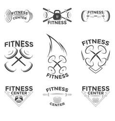 Fitness emblems logo design vector