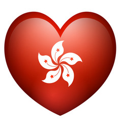 Flag of hong kong in heart shape vector