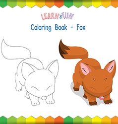 Fox coloring book educational game vector image vector image