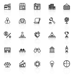 Franchise line icons with reflect on white vector