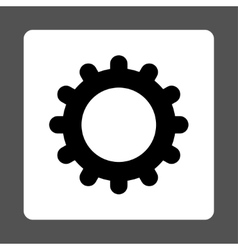 Gear flat black and white colors rounded button vector image