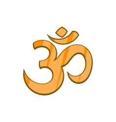Hindu Om symbol icon in cartoon style vector image