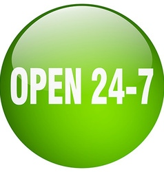 Open 24 7 green round gel isolated push button vector