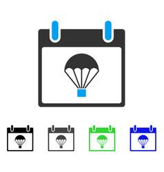 Parachute calendar day flat icon vector
