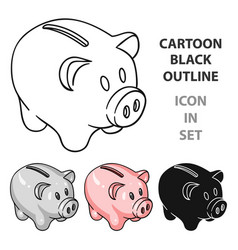 piggy bank icon in cartoon style isolated on white vector image