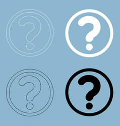 question mark in a circle the black and white vector image