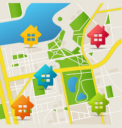 Realistic 3d detailed city map real estate pins vector