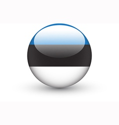 Round icon with national flag of Estonia vector image vector image