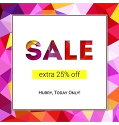 Sale banner on low poly background with elegant vector