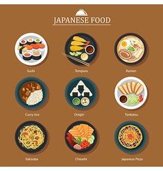 set of japanese food flat design vector image vector image