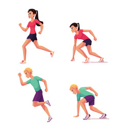 set of runners male and female running and vector image vector image